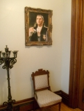 Collinwood Inn - The foyer of the Collinwood Inn Bed and Breakfast features a framed replica canvas painting of the original Barnabas Collins with his infamous silver wolf's head cane. Enter at your own risk!