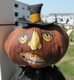 Pumpkin Head - 34 inches tall, made from hand painted muslin. One of a kind.