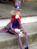Primitive Folk Art Uncle Sam - 32 inches tall. Made from hand painted muslin.