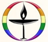 UU Welcoming Congregation - The Chalice of Love, Light and Learning surrounded by the diversity rainbow