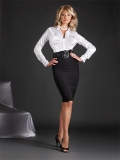 Simply Elegant - High neck satin top,  Classic  sexy  pencil skirt, made to fit men.  Best sellers!