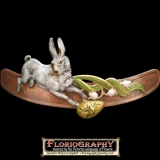 Bunny Hair Clip - A white rabbit hops through a whimsical springtime vignette. $80