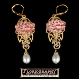 "Maternal Love Earrings - A pink carnation signifies 'Maternal Love.' The earring measures 2-1/4"" long from the top of the gold plated European ear wire to the bottom of the fresh water pearl drop. $56"