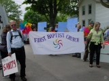 FBC in the Ithaca Festival Parade - Our congregation is proud of its status as a welcoming and affirming church. We always take part in the annual parade.