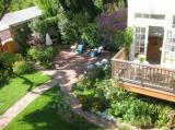 Expansive garden spaces.