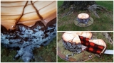 Lumberjack tree stump cake