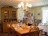 Dining Room - Pride of the house - the dining room, also known as a Keeping Room has the original wide-plank floors from 1860 and a tin-pressed ceiling from the early 1900s.  A 3 course breakfast is served in the morning and we make everything homemade using local produce when available.  We can certainly accommodate dietary restrictions if known in advance.