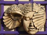 'Hypnia' (Sleep) - An androgynaised version of Hypnos the Greek God of sleep. Wall hanging ceramic sculpture, stoneware.
