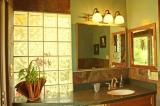 Bathroom - Sink set in stone counter top, Indian slate walls and floor