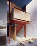 Stairs leading to kitchen and dining room.